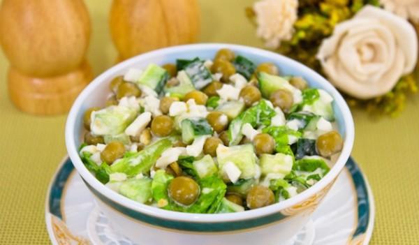 Рецепт салата с горошком консервированным и яйцом