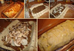 Пирог с грибами из дрожжевого теста в духовке рецепт